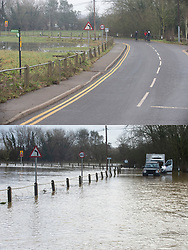©Licensed to London News Pictures 28/12/2019. <br /> Yalding ,UK. Comparison image of Lees road, Yalding today (28.12.2019) and from a week ago  (21.12.2019).  Flood waters from the River Medway and River Beult in Yalding, Kent are Receding.  Photo credit: Grant Falvey/LNP