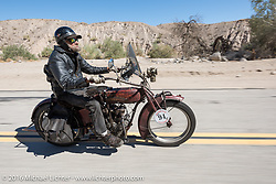 Rich Rau of Oregon riding his 1916 Indian during the Motorcycle Cannonball Race of the Century. Stage-14 ride from Lake Havasu CIty, AZ to Palm Desert, CA. USA. Saturday September 24, 2016. Photography ©2016 Michael Lichter.
