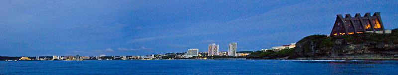 Panoramic View of Guam's Tumon Bay and Tumon Bay Marine Preserve