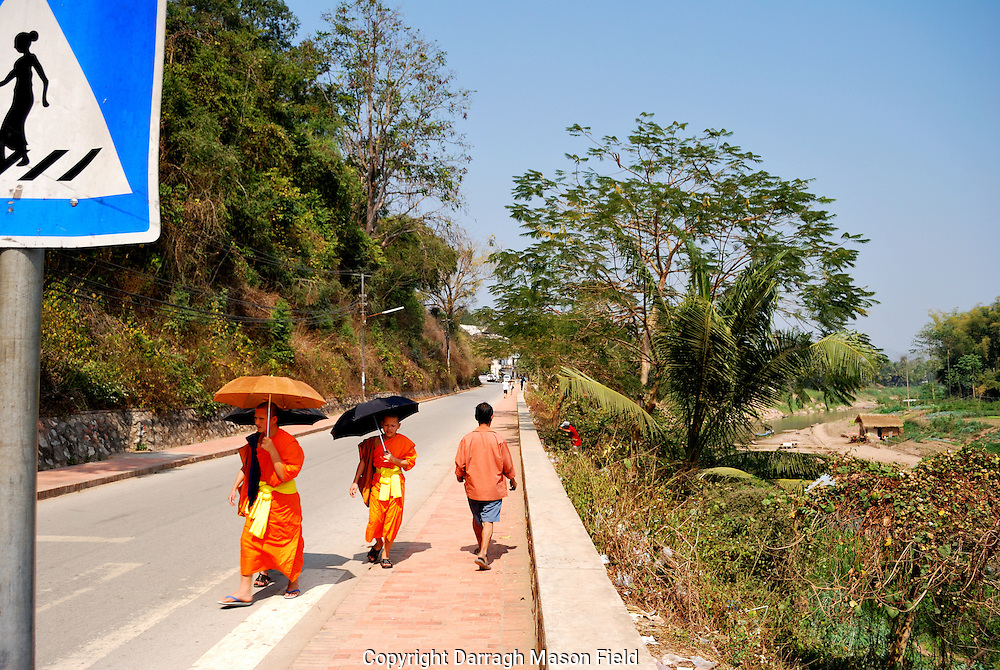 Novice monks sheltering from the sun under parasols