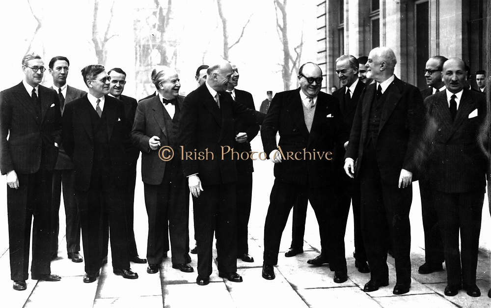 Council members of the OEEC 17 February 1949.  The OEEC was the forerunner of the OECD.   From left to right: Max PETITPIERRE (Switzerland), Dr. Östen UNDÉN (Sweden), Joseph BECH (Luxembourg), Robert SCHUMAN (France), Paul-Henri SPAAK (Belgium), Sir Stafford CRIPPS (United Kingdom), Count SFORZA (Italy)