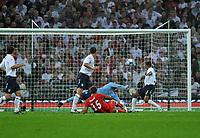 Photo: Tony Oudot/Richard Lane Photography.  England v Czech Republic. International match. 20/08/2008. <br /> Milan Baros of Czech Republic (15) scores past David James in the England goal