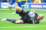 Watford Goalkeeper Heurelho Gomes (1) makes a save during the Pre-Season Friendly match between AFC Wimbledon and Watford at the Cherry Red Records Stadium, Kingston, England on 15 July 2017. Photo by Jon Bromley.