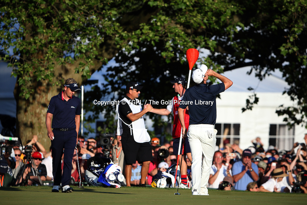 Justin ROSE (ENG) wins at 18th and looks to the heavens to thanks his late father during fourth round  US Open Championship 2013,Merion,East Course,Ardmore,PA,USA.