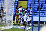 GOAL 1-0 Reading midfielder Yakou Meite (11) celebrates his goal during the EFL Sky Bet Championship match between Reading and Barnsley at the Madejski Stadium, Reading, England on 19 September 2020.