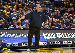 Dec 1, 2018; Morgantown, WV, USA; West Virginia Mountaineers head coach Bob Huggins yells from the bench during the second half against the Youngstown State Penguins at WVU Coliseum. Mandatory Credit: Ben Queen-USA TODAY Sports