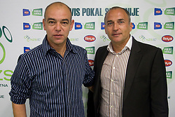 Darko Birjukov, coach of NK Domzale and Darko Milanic, coach of NK Maribor during press conference of Hervis Cup 2011, on May 23, 2011 in Stozice, Ljubljana, Slovenia. NK Domzale and NK Maribor will play in the Final of Hervis Cup 2011 at Stozice Stadium.  (Photo By Vid Ponikvar / Sportida.com)