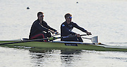 Caversham  Great Britain.<br /> GBR M2-, bow Pete REED and Constantine LOULOUDIS, on the water at the 2016 GBR Rowing Team Olympic Trials GBR Rowing Training Centre, Nr Reading  England.<br /> <br /> Tuesday  22/03/2016 <br /> <br /> [Mandatory Credit; Peter Spurrier/Intersport-images]