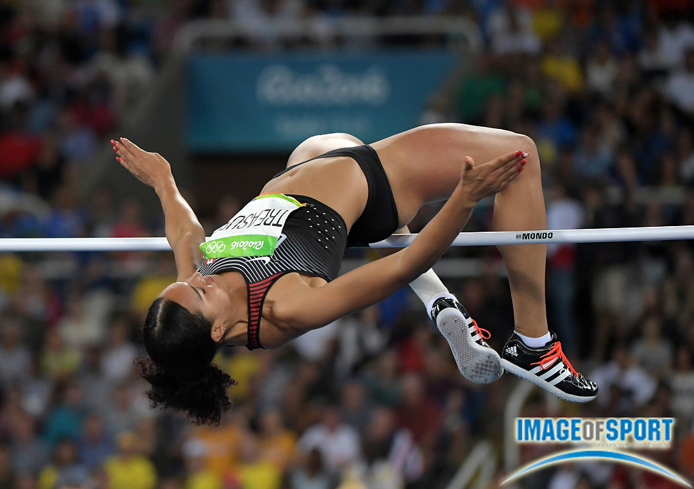 Aug 20, 2016; Rio de Janeiro, Brazil; Alyx Treasure (CAN) places 17th in the women's high jump at 6-2 (1.88m) during the 2016 Rio Olympics at Estadio Olimpico Joao Havelange. <br /> <br /> *