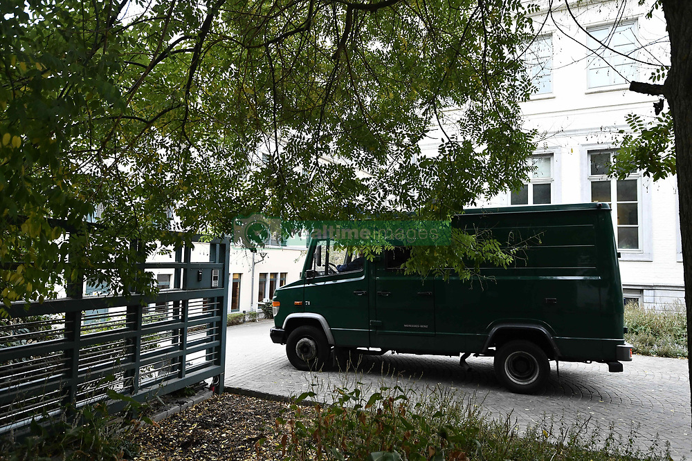 October 26, 2018 - Tongeren, BELGIUM - A police van arrives for a session of the council chamber, at the justice palace in Tongeren, Friday 26 October 2018. Several suspects in a large investigation into tax evasion, money laundering and possible match fixing in Belgian first division soccer competition were arrested in 'Operatie Propere Handen' (Operation Clean Hands)...BELGA PHOTO ERIC LALMAND (Credit Image: © Eric Lalmand/Belga via ZUMA Press)