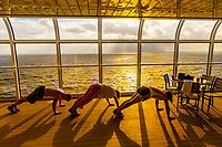 Passengers exercising aboard the new Disney Dream cruise ship sailing between Florida and the Bahamas.