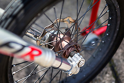 © Licensed to London News Pictures. 01/07/2019. York UK. Neil Campbell's £15,000 custom built Moss bicycle. Neil Campbell, the European cycling speed record holder has been testing his £15,000 custom built Moss bicycle complete with stopping parachute at Elvington airfield in Yorkshire ahead of an attempt to break the 167mph world cycling record later this year. Neil is towed up to speed behind a Porsche Cayenne before he is released & peddles on to his top speed. Photo credit: Andrew McCaren/LNP