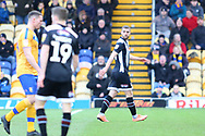 Grimsby Town defender Luke Waterfall (6) is sent off following a challenge on Mansfield Town midfielder Jacob Mellis (8) during the EFL Sky Bet League 2 match between Mansfield Town and Grimsby Town FC at the One Call Stadium, Mansfield, England on 4 January 2020.