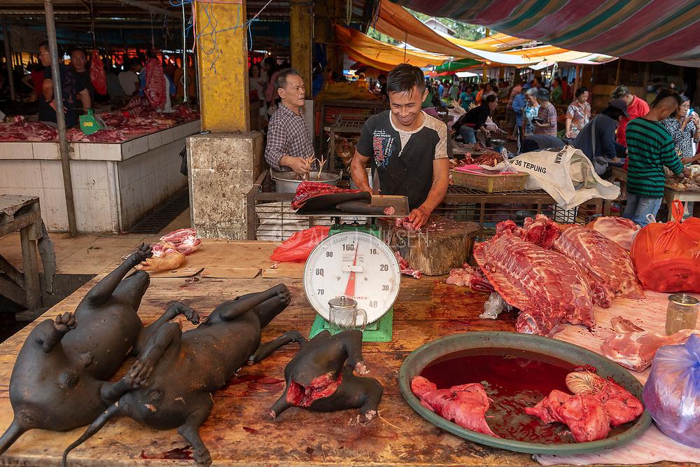 Inside Tomohon extreme market, north Sulawesi, Indonesia.