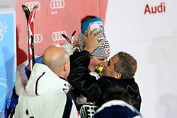 04.01.2013, Crveni Spust, Zagreb, AUT, FIS Ski Alpin Weltcup, Slalom, Damen, Podium, im Bild Zagrebs Buergermeister Milan Bandic kroent Mikaela Shiffrin (USA, Platz 1) // Zagreb Mayor Milan Bandic crowned winner Mikaela Shiffrin of the USA, Zagreb Mayor Milan Bandic crowned winner Mikaelu Shiffrin on podium of the ladies Slalom of the FIS ski alpine world cup at Crveni Spust course in Zagreb, Croatia on 2013/01/04. EXPA Pictures © 2013, PhotoCredit: EXPA/ Pixsell/ Zeljko Lukunic..***** ATTENTION - for AUT, SLO, SUI, ITA, FRA only *****