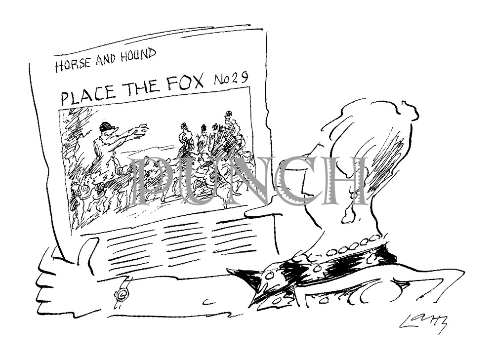(Woman reads 'Horse and Hound' with a 'spot the fox' photograph of the end of a fox hunt)