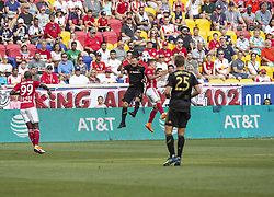 August 5, 2018 - Harrison, New Jersey, United States - Marc Rzatkowski (90) of Red Bulls & Jordan Harvey (2) of LAFC fight for ball during regular MLS game at Red Bull Arena Red Bulls won 2 - 1 (Credit Image: © Lev Radin/Pacific Press via ZUMA Wire)