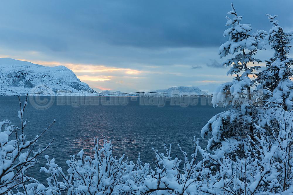 Winter landscape, nesrby Fosnavåg, Norway   Vinterlandskap med Søndre Vaulen i bakgrunnen.