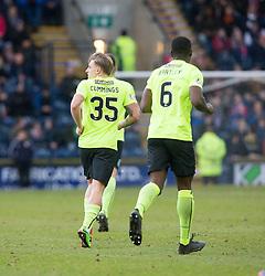 Hibernian's Jason Cummings cele scoring their goal. Raith Rovers 1 v 1 Hibernian, Scottish Championship game played 18/2/2017 at Starks Park.