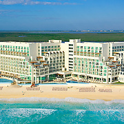 Aerial view of the Palace hotel in Cancun.