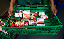 Embargoed to 0001 Thursday June 29 File photo dated 26/04/16 of tins of food at the Trussell Trust Brent Foodbank in Neasden, London. Four out of five people referred to foodbanks have skipped meals and gone without eating, sometimes for days at a time, a major new study has revealed.