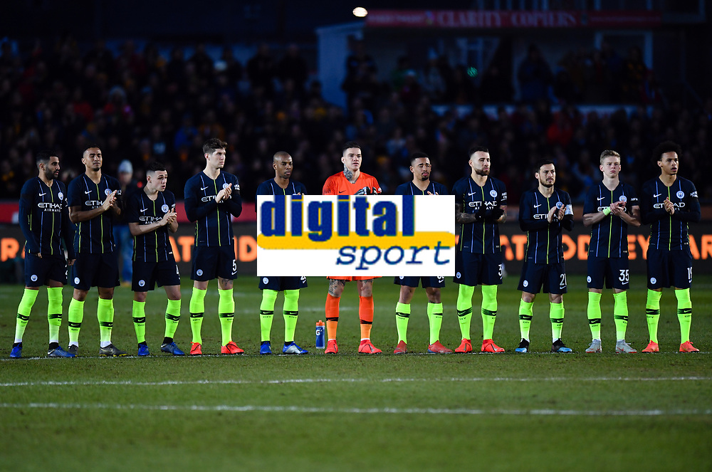 Football - 2018 / 2019 Emirates FA Cup - Fifth Round: Newport County vs. Manchester City<br /> <br /> Manchester City observe a minute's applause for Gordon Banks OBE who died earlier this week, at Rodney Parade.<br /> <br /> COLORSPORT/ASHLEY WESTERN