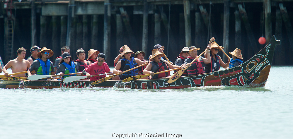 Power Paddle to Puyallup, the annual Native American traditional canoe gathering that takes place along the west coast of Washington & Canada, this year hosted by the Puyallup Tribe, Saturday, July 28, 2018. (Photo/John Froschauer)