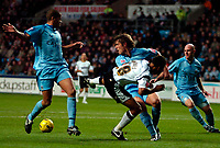Photo: Ed Godden.<br />Coventry City v Derby County. Coca Cola Championship. 11/11/2006. Derby's Giles Barnes falls in the area after making contact with Marcus Hall (L), no penalty was given.