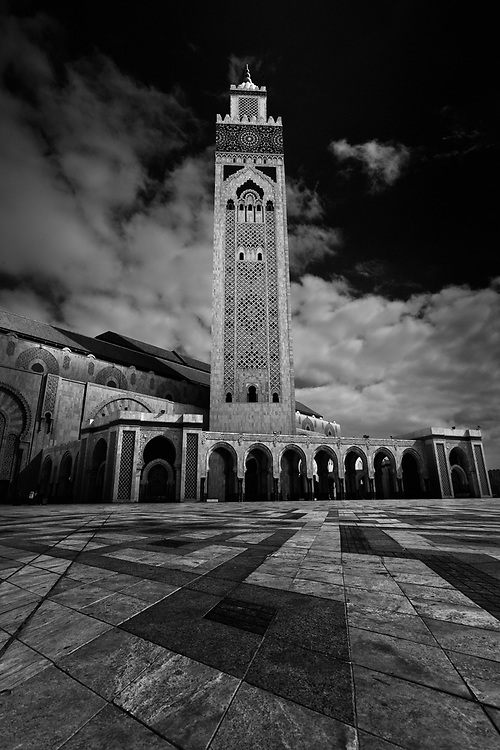 The Hassan II Mosque, in Casablanca, Morocco. Processed with Nik's Silver Efex Pro and Photoshop for a more dramatic feel