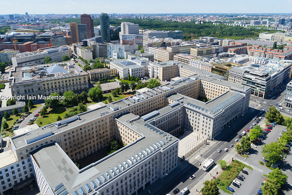 Skyline of Berlin towards Potsdamer Platz with German Federal Ministry of Finance in foreground in Germany