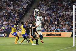 May 5, 2018 - Kansas City, KS, U.S. - KANSAS Kansas City, KS - MAY 05: Sporting Kansas City goalkeeper Tim Melia (29) leaps to make the save in the second half of an MLS match between the Colorado Rapids and Sporting Kansas City on May 5, 2018 at Children's Mercy Park in Kansas City, KS.  Sporting KC won 1-0. (Photo by Scott Winters/Icon Sportswire) (Credit Image: © Scott Winters/Icon SMI via ZUMA Press)