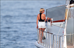 File photo of Lady Diana, Princess of Wales, with boyfriend Dodi Al Fayed spending their summer holiday in Saint-Tropez, south of France, on August 22, 1997. Princess Diana died on August 31, 1997 after suffering fatal injuries in a car crash in the Pont de l'Alma road tunnel in Paris. Her companion Dodi Fayed and driver and security guard Henri Paul were also killed in the crash. Photo by ABACAPRESS.COM  Diana of Wales Princesse Diana Princesse de Galles Diana de Galles Princess Diana of Wales Princess Diana Lady Dian Lady Diana Lady Di Princesse Diana de Galles Princess of Wales  | 594950_022 Saint-Tropez France