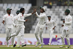 August 28, 2017 - Mirpur, Bangladesh - Mehedi Hasan Miraz celebrete the wicket of Smith  during day two of the First Test match between Bangladesh and Australia at Shere Bangla National Stadium on August 28, 2017 in Mirpur, Bangladesh. (Credit Image: © Ahmed Salahuddin/NurPhoto via ZUMA Press)