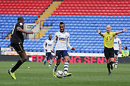 Bolton Wanderer's Robert Hall passes the ball forward. Skybet football league championship match , Bolton Wanderers v Wigan Athletic at the Reebok stadium in Bolton on Saturday 29th March 2014.<br /> pic by David Richards, Andrew Orchard sports photography.