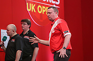 Glen Durrant reacts to missing a dart at a double during the Ladrokes UK Open 2019 at Butlins Minehead, Minehead, United Kingdom on 1 March 2019.