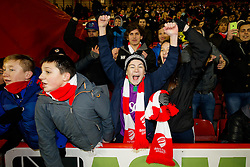 Bristol City fans celebrate after the match ends 1-1 (5-3 on aggregate) allowing Bristol City to progress to the Final at Wembley - Photo mandatory by-line: Rogan Thomson/JMP - 07966 386802 - 29/01/2015 - SPORT - FOOTBALL - Bristol, England - Ashton Gate Stadium - Bristol City v Gillingham - Johnstone's Paint Trophy Southern Area Final Second Leg.