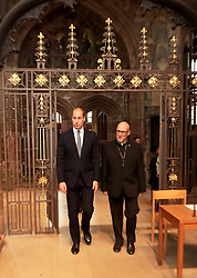 June 2, 2017 - Manchester, United Kingdom - Image licensed to i-Images Picture Agency. 02/06/2017. Manchester, United Kingdom. The Duke of Cambridge walks with Canon Philip Barratt  at Manchester Cathedral where he met first responders and members of the local community who provided vital care and support to those affected by last week's suicide bomb attack, including representatives from St John's Ambulance, Northern Rail and the British Red Cross.  Picture by ROTA  / i-Images UK OUT FOR 28 DAYS (Credit Image: © Rota/i-Images via ZUMA Press)