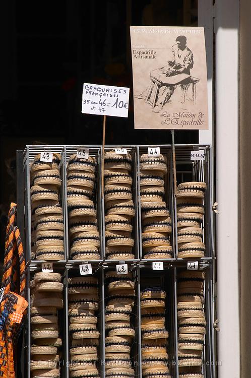 Selling espadrilles shoes. Banyuls sur Mer, Roussillon, France