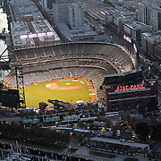 A general view of the San Francisco skyline with AT&T Park, home of the San Francisco Giants, as seen prior to the first home game of the 2014 World Series against the Kansas City Royals, on Thursday, October 24, 2014. (AP Photo/Alex Menendez)