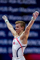 August 9, 2018 - Glasgow, UNITED KINGDOM - 180809 Stian Skjerahaug of Norway competes at the horizontal bar in the qualification of Men's Artistic Gymnastics during the European Championships on August 9, 2018 in Glasgow..Photo: Jon Olav Nesvold / BILDBYRN / kod JE / 160290 (Credit Image: © Jon Olav Nesvold/Bildbyran via ZUMA Press)