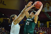 March 18, 2016; Tempe, Ariz;  Green Bay Phoenix guard/forward Jessica Lindstrom (21) goes up for a basket during a game between No. 7 Tennessee Lady Volunteers and No. 10 Green Bay Phoenix in the first round of the 2016 NCAA Division I Women's Basketball Championship in Tempe, Ariz.