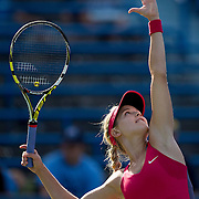 August 16, 2014, New Haven, CT:<br /> Eugenie Bouchard serves during during a match against Bojana Jovanovski on day four of the 2014 Connecticut Open at the Yale University Tennis Center in New Haven, Connecticut Monday, August 18, 2014.<br /> (Photo by Billie Weiss/Connecticut Open)