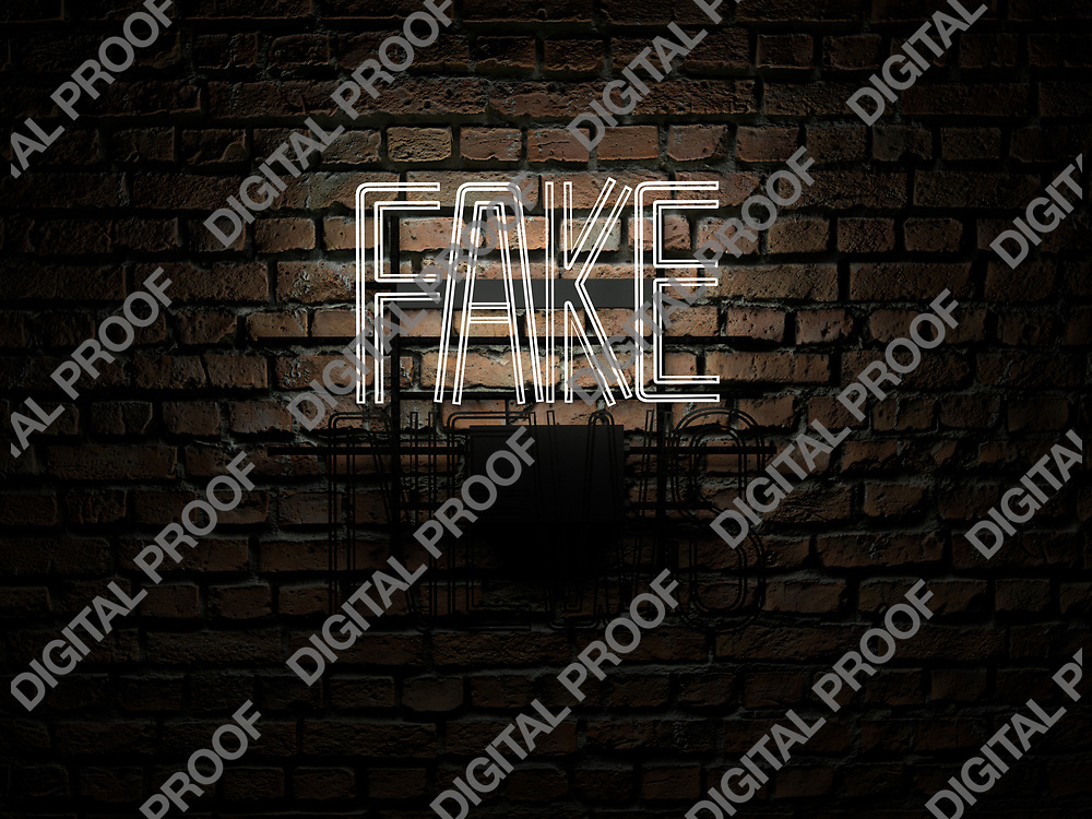 Fake News Neon Sign white color fake on news off over a red brick wall at dark - Illustration Computer Rendered - Illustration