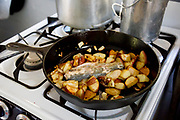Fresh caught cutthroat trout being cooked with potatoes on a propane stove in Granite Cabin
