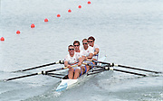 St Catharines, Ontario, CANADA 1999 World Rowing Championships. GBR M4- Stroke Matthew Pinsent, No. 3, Ed Coode, No. 2, Steve Redgrave and bow James Cracknell, [Mandatory Credit Peter Spurrier Intersport Images] 1999 FISA. World Rowing Championships, St Catherines, CANADA