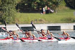 22.08.2015, Mailand, ITA, Kanu WM 2015, im Bild Der deutsche Damen-Viererkajak mit Franziska Weber (Potsdam), Conny Wassmuth (Potsdam), Verena Hantl (Karlsruhe) und Tina Dietze (Leipzig) zieht ?ber 500m in das WM-Finale ein // during the 2015 canoe world championship at Mailand, Italy on 2015/08/22. EXPA Pictures © 2015, PhotoCredit: EXPA/ Eibner-Pressefoto/ Freise<br /> <br /> *****ATTENTION - OUT of GER*****