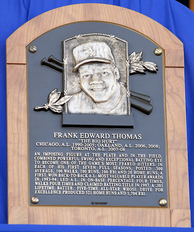 COOPERSTOWN, NY - JULY 27:  A close up view of 2014 Baseball Hall of Famer inductee Frank Thomas's HOF plaque during the 2014 HOF induction ceremonies held at the Clark Sports Center in Cooperstown, New York on July 27 2014.