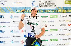 Benjamin Savsek fo Slovenia reacts after competing in Final of Canoe Single Men C1 during Day 4 of 2017 ECA Canoe Slalom European Championships, on June 4, 2017 in Tacen, Ljubljana, Slovenia. Photo by Vid Ponikvar / Sportida