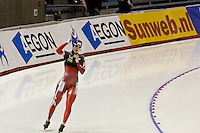 Calgary - December 5, 2009 - Essent ISU World Cup Speedskating at the Olympic Oval in Calgary.  Brittany Schussler of Canada acknowledges the crowd after finishing her heat in the A Division of the women's 1500m event.  Schussler finished 4th in 1:54.85 and was part of a Canadian contingent that took 3 of the top 4 places in the event...©2009, Sean Phillips.http://www.Sean-Phillips.com