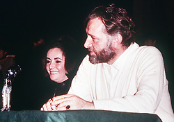 Elizabeth Taylor and husband Richard Burton at a press conferance in Oxford in connection with the university production of Dr Faustus.